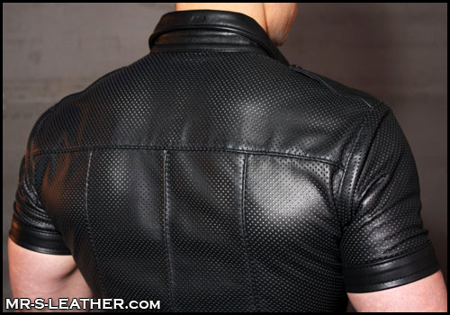 Short sleeve police shirt in perforated leather