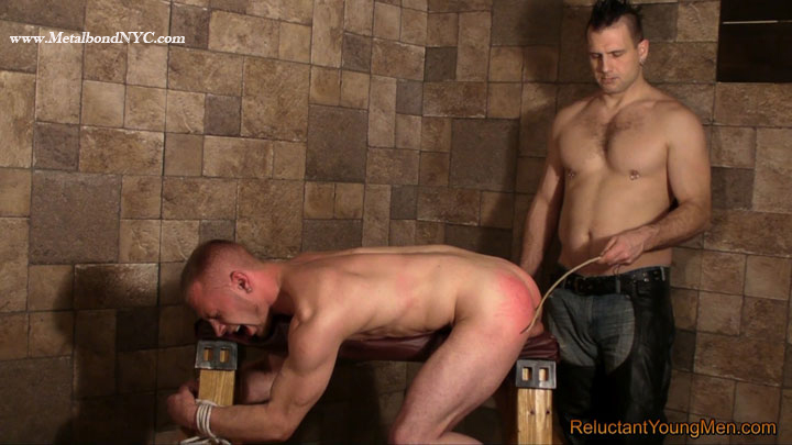 Reluctant Young Men Blake is tied to the spanking bench