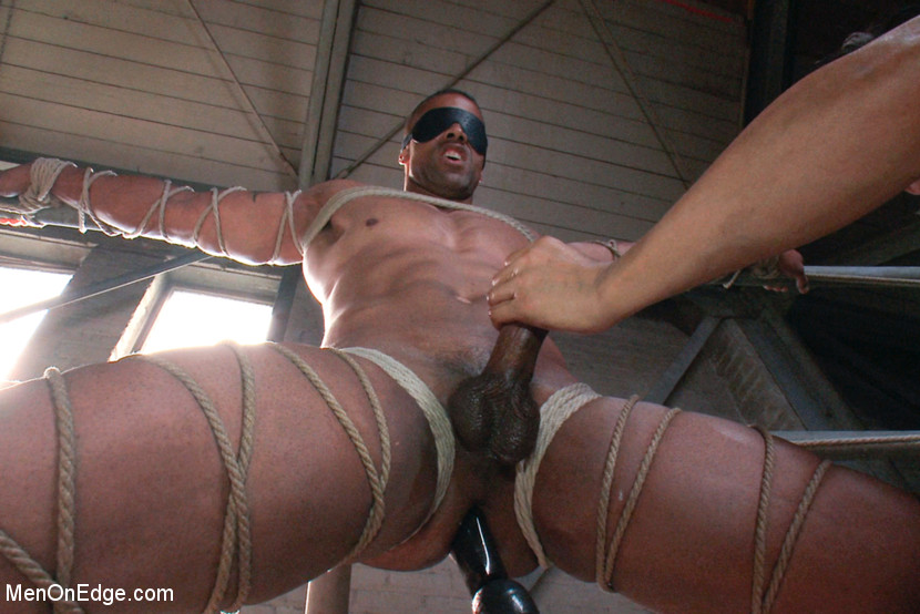 Tied to a wooden beam in the middle of the vast Armory, he gets his ass fucked and flogged. They suspend him 20 feet in the air and bring him to the brink of orgasm. Up in the bleachers, he gets another dildo shoved up his ass that makes him flex his muscles in the tight ropes. After being edged over and over, he cums with the dildo up his ass for the first time.