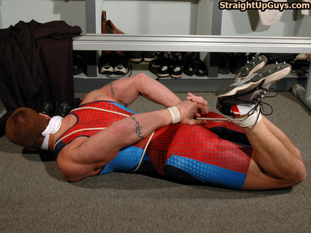 Hogtied in a track suit