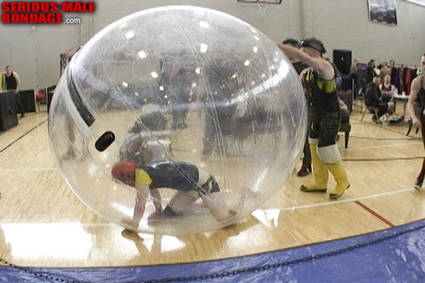 Rubber hamster ball bondage