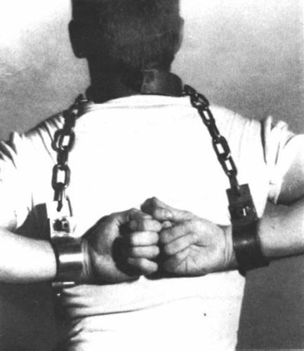 Men in heavy locking metal bondage 08