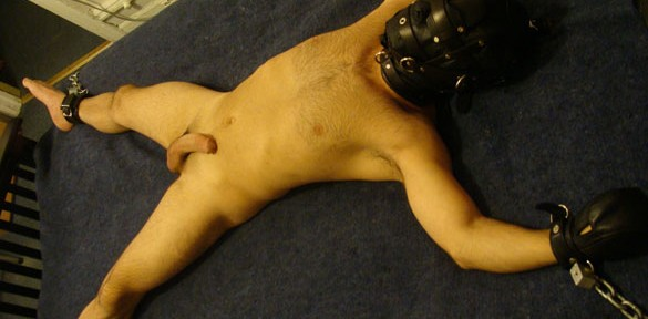 Luckiboy gets spread eagled in a leather hood