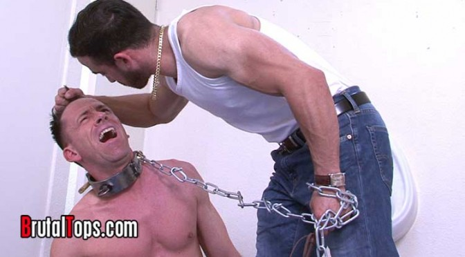 Master Jaime humiliates a faggy sub who is chained to the urinal
