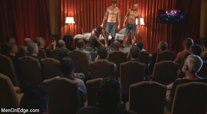Edged in front of a live audience, Christian Wilde blows a massive load