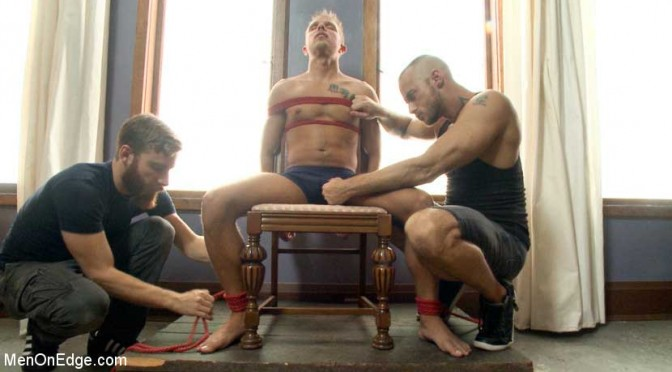 Bi southern hunk gets his first edging in bondage