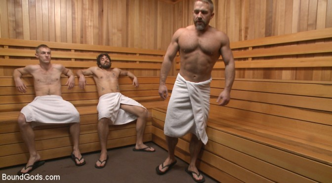 Bondage God Dirk Caber subdues two studs in the sauna