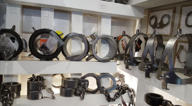 Pictures: Heavy metal shackles at Parus-Leder store
