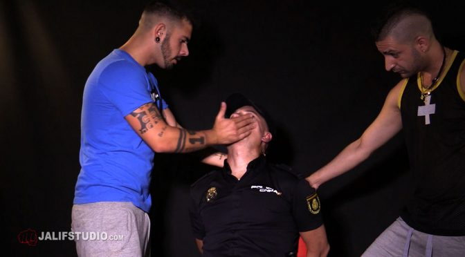 Pictures and video: A cop gets abducted and roughed up by two street punks