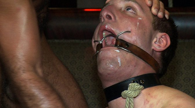 Big cock slave is publicly humiliated and caught in a cum fest