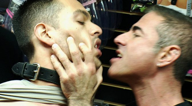 A Latin stud gets double penetrated at Folsom Gulch porn store