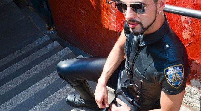 Hot leather cop
