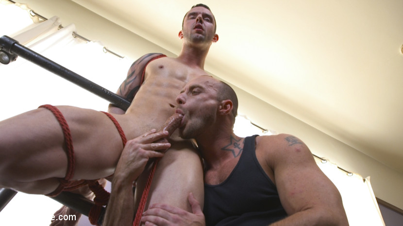 straight guy enjoys getting bondage and toys
