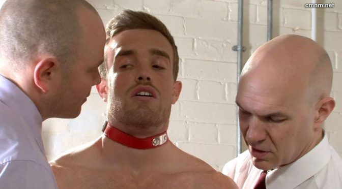 Two naked men get tied up and humiliated by clothed men