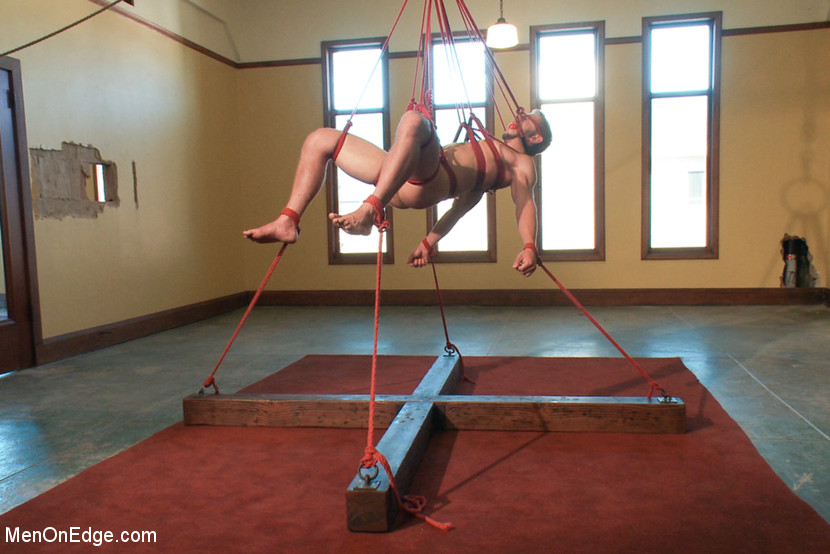 Bryan Cole endures bondage and edging in his first video shoot ever