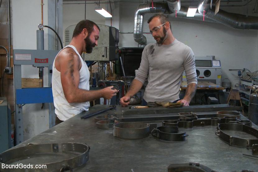 Motor oil bondage fuck in the metal shop