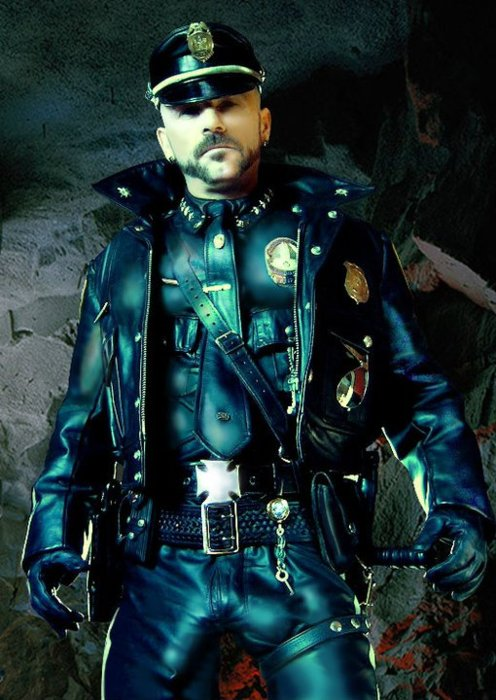 Leather police officer