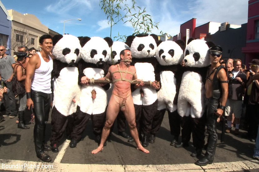 Six assless pandas use and abuse Jason Miller at Folsom Street Fair
