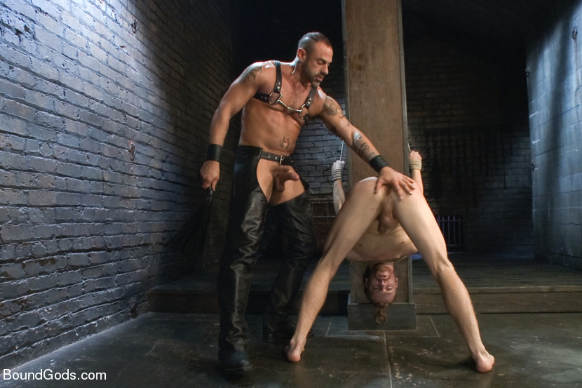 Tied with his ass in the air in another stress position, Sebastian is fucked again. He begs for his master's load as he jacks CJ off. Sebastian is choked as he jacks himself off on to CJ's leather then made to lick it off.