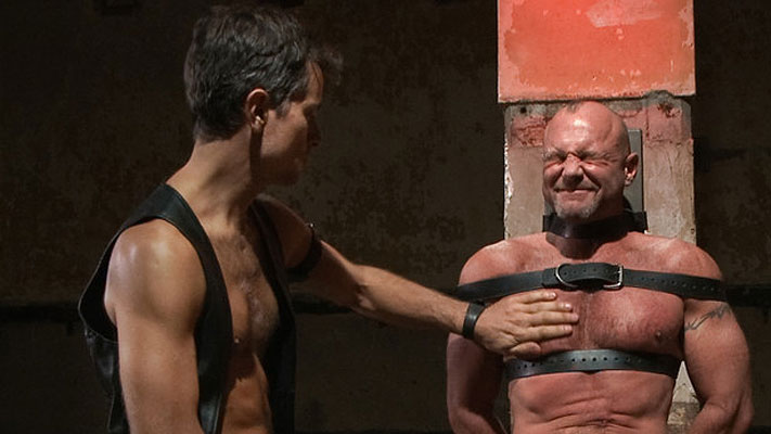 Master Avery leather bondage top
