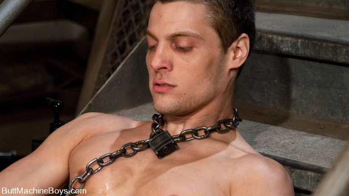 Chained by the neck at Butt Machine Boys