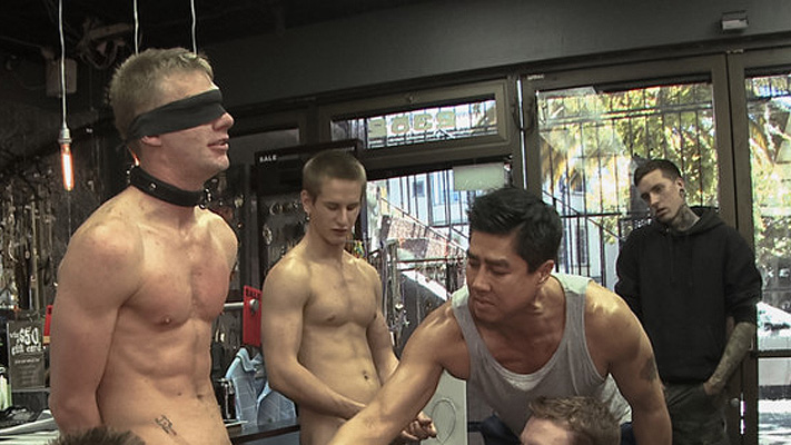 Ripped, hung stud gets used and abused in a clothing store