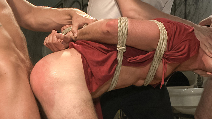 Cameron Kincade gets beaten down and gang banged in a dirty bathroom