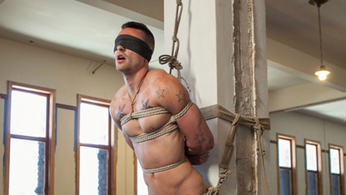 Straight hunk Johnny Torque's first time bound