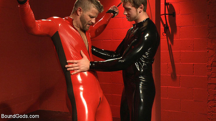 Connor Maguire and Jeremy Stevens in bondage and SlickItUp gear