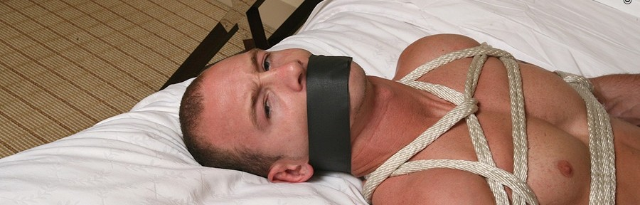Tied with rope and gagged with tape