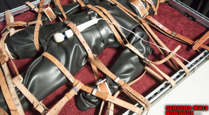 Dry suit bondage and an electric vibrator