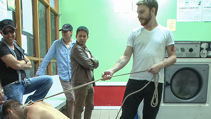 Male BDSM: Punk gets tied up at the laundromat
