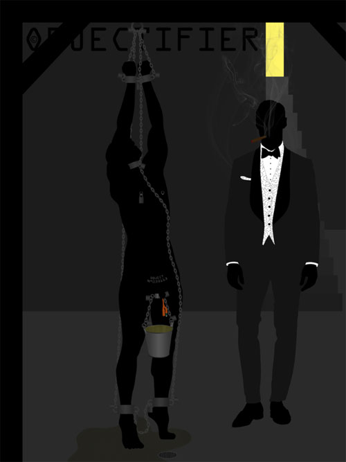 "Objectifier writes: ""This piece is called 'I own the club' and it's from 2013. The name is a riff on the James Bond movie 'Goldfinger.' Here the objectified man is standing on tiptoe chained to an overhead beam. He is catheterized and the piss flows into a bucket slung from a ball stretcher. Once the bucket fills up he's got several kilos of weight slung from his scrotum. Of course, there is nothing at all he can do to stop the piss from flowing. As he moves around trying to get any relief possible, some of the piss sloshes out and he ends up standing in it. I am standing by watching just enjoying my Cigar. I'm dressed in my dinner clothes. I often enjoy the extreme power dynamic when I'm dressed in evening clothes and an object is naked before me."""