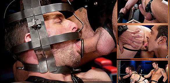 Jimmy Durano and Morgan Black play with a metal head cage