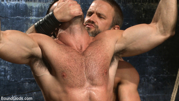 Muscular porn stars get into gay bondage action at Bound Gods