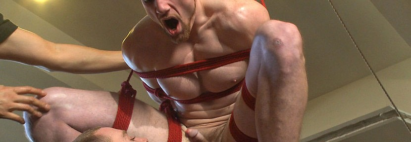 Jimmy Bullet gets tied up for the very first time as his cock is relentlessly edged till he blows his load all over himself