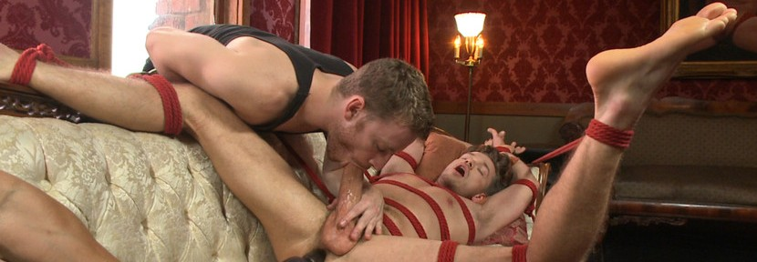 Lucas Knight has his gigantic cock relentlessly edged before he blows a huge load all over himself