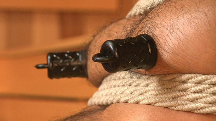 Male bondage: Adam Ramzi gets tied up and edged in the sauna