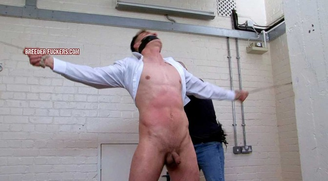 Tied naked, virtually hanged and fucked right up his tight ass for the first time