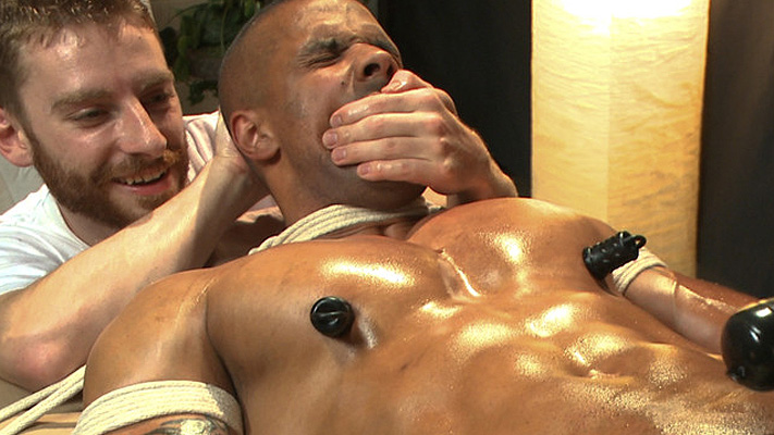 Muscle man bondage: Four-handed massage with happy (and unhappy) endings