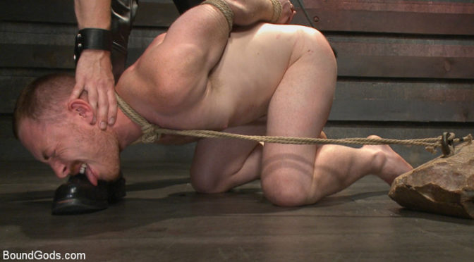 Sebastian Keys brutally beats and fucks cock slave Damien Moreau