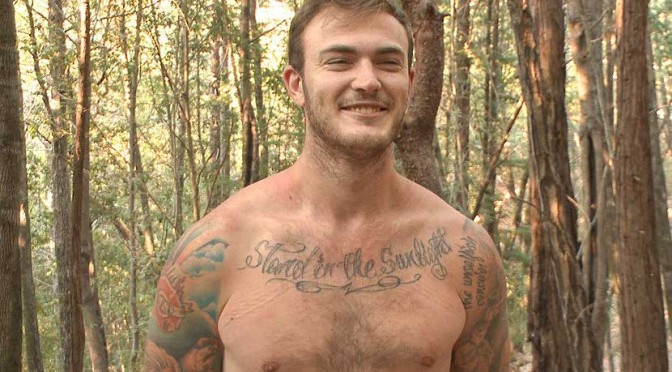Male bondage porn: Christian Wilde is tied in the woods