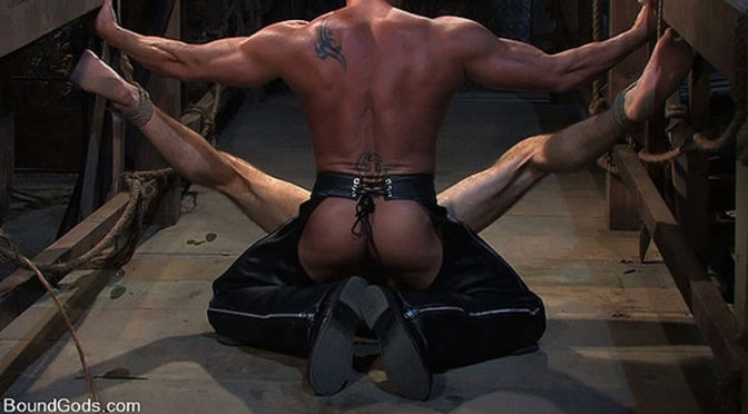A sailor gets tied up and fucked by a leather master