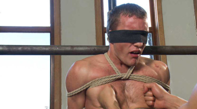 A straight stud gets tied up and jacked off