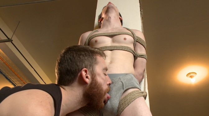 Male BDSM porn: A bondage captive gets tied up and jacked off