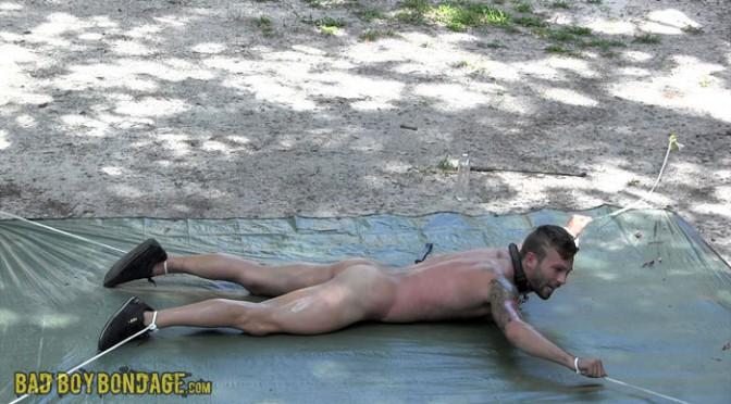 Male BDSM video: Backyard Bondage