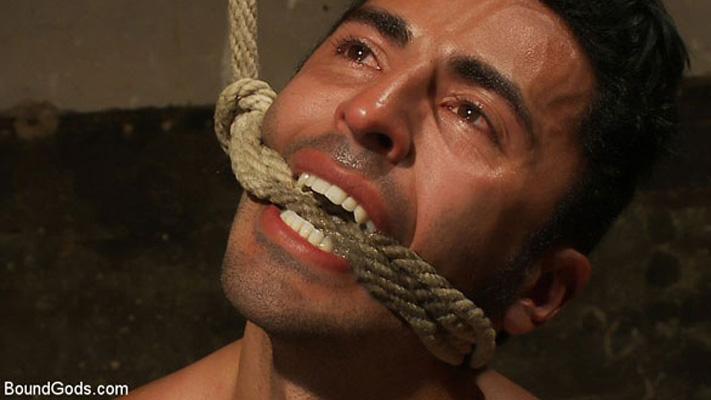 Phenix Saint shocks Gianni Luca and fucks him hard in suspension bondage
