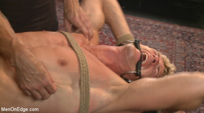 Male BDSM porn: A captive gets tied up and jacked off twice