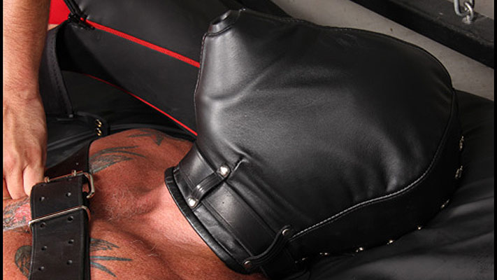Bondage gear: Leather breath control hood