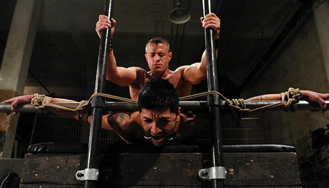 Male BDSM: Tyler Saint puts Dominic Pacifico in stress position bondage